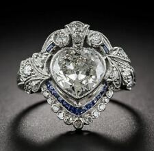 White Heart Studded Solitaire Art Deco Vintage Wedding Engagement Ring 3.05Ct