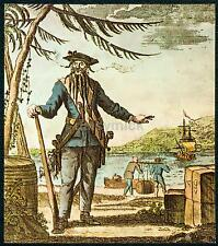 Edward teach blackbeard the pirate alias Daniel Defoe 1736, 6x5 cm print