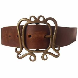 Vintage 1970s Solid Brass Fancy Buckle British Tan Brown Leather Belt sz Small