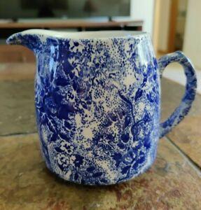 Laura Ashley Cobalt Blue & White Chintzware Milk Cream Pitcher Staffordshire 4.5