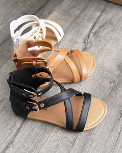 New Girls Gladiator Kids Zipper and Buckle Summer Fashion Sandals size 11-4