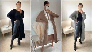 Womens Ladies Chunky Knitted Longline Long Sleeve Pocket Cardigan Jumper Coat UK