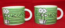Cathay Pacific Airways Airline Porcelain 2 Cappuccino Coffee Mug Cups Set Green