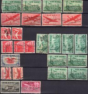 Lot 24 timbres oblitérés 1930 à 1960 USA AIR MAIL à étudier