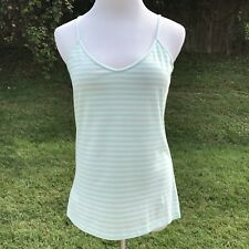 Talbots Womens Size M Cami Top Stretch New Stripe Blue Undershirt Cotton Light