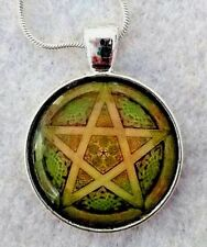 """GREEN PENTAGON gothic 1""""glass pendant necklace handmade silver plated 20 chain"""