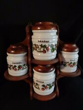 Vintage Slovenia Milk Glass Ribbed  Canisters & Wood Shelf Set of 4 RARE