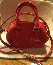 G.I.L.I. Red Leather Crossbody Double Strap ArmBag Travel Purse