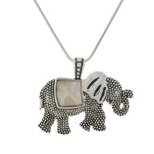 "Elephant Charm Pendant Fashionable Necklace - Mother of Pearl Shell - 18"" Chain"