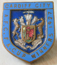 CARDIFF CITY Vintage 1927 FA CUP WINNERS Badge Button hole fitting 23mm x 27mm