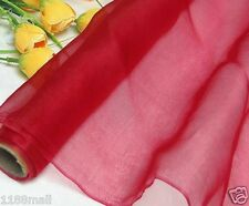 100% Pure Silk Organza Fabric Red Yardage Dress Gauz Tulle Material Voile