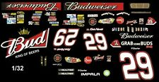 #29 Kevin Harvick Black Budweiser 2012 1/32nd Scale Slot Car Waterslide Decals