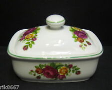 Cottage rose English Fine Bone China butter dish Green Rim By Milton China