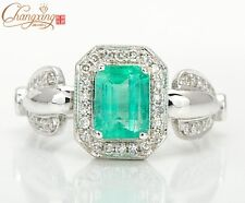 Unplated 14K White Gold Natural 1.12ct Emerald Engagement Diamond Ring