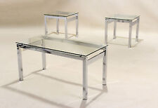 Coffee Table Set Lamp Side End Table Clear Glass Three Piece Set Chrome Frame