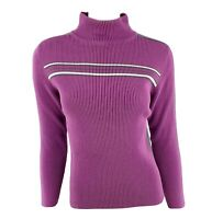 VTG 90s Relativity Mock Turtleneck Sweater Sz Large Purple Ribbed Stretch Cotton