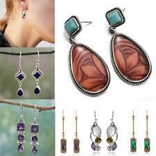 Vintage 925 Silver Dangle Drop Earrings Ear Hook Amethyst Lapis Ear Jewelry Gift