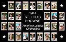 1944 St Louis Browns World Series Baseball Card Team Poster Print Decor Art Gift