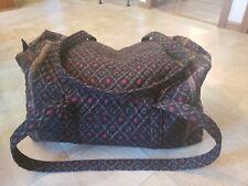 Vera Bradley XL Black Laurel Retired Duffel Duffle Bag Huge Travel Tote