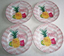 "TROPICAL Melamine Salad Plate's 8.5"" Diameter. Set of 4 plates PINEAPPLE/HAPPY"