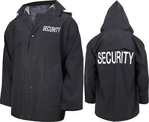 Black Waterproof Security Rain Jacket Double Sided Print with Hood