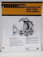 Case Backhoes for 1830-1845 Uni-Loaders Operating Data Brochure Specifications