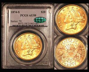 1874-S $20 PCGS/CAC AU 58 Liberty Double Eagle