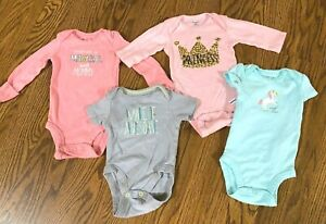 Lot Of 4 Baby Girl's Bodysuits 0-3 Mo