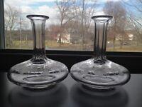 Nice Pair Antique Cut Glass Floral Bottles Boston Sandwich Glass?