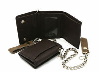 Trifold Brown Genuine Leather Wallet with Scale Texture Design with a Chain