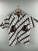 Asyraf Men's Vintage Short Sleeve Shirt - Indonesia - Size Large - Brown White