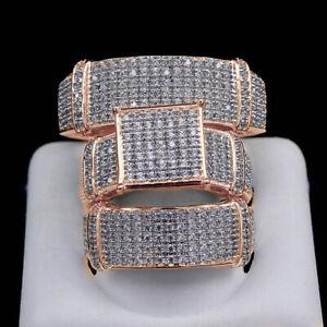 1.30Ct Diamond Trio Set Wedding Band Matching Engagement Ring Sold 18k Rose Gold