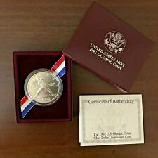 1992-D US Mint Olympic Silver Dollar Uncirculated Baseball Pitcher OGP COA