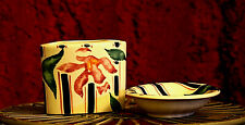 Vintage English Country Pottery Ceramic Soap Dish and Tooth Brush Holder Set