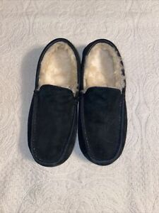 UGG ASCOT BLACK SUEDE MOCCASIN SHEEPSKIN MENS SHOES SLIPPERS SIZE US 11 #5775