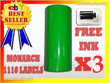 3 SLEEVES FLUORESCENT GREEN LABEL FOR MONARCH 1110 PRICING GUN 3 SLEEVES=48ROLLS
