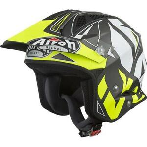 AIROH TRR S Open Face Motorcycle Motorbike Trail Helmet Convert Yellow Matt