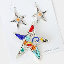 Starfish Necklace SET Pendant Earrings Filigree MULTI Color Bead SILVER Jewelry