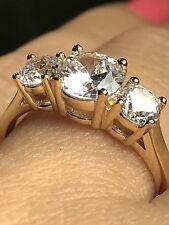 GOLD 14k Ring 3 Stone round Engagement Yellow Manmade Diamond 7 5 6 8 9