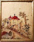 Antique Needlepoint - Churches - Mission Red Tiled Roofs Scene - Framed Original