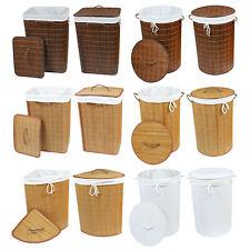 Bambus Wäschekorb Wäsche Sammler Truhe Box Tonne mit Deckel & Sack XL - wählbar