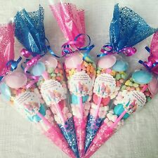 40 X Trolls Movie Themed Sweet  Cones, Persoanlised And Free Sweetbag