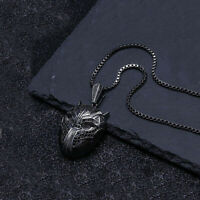 """18K BLACK GOLD over Stainless Steel PANTHER Chain Mens Pendant Necklace 20"""""""