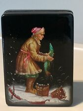 Hand painted Russian lacquer depicting Emelya and the magic pike signed dated