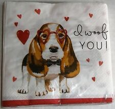 "VALENTINE Cocktail Napkins I WOOF YOU  2 ply  20 Ct  9 4/5"" x 9 3/4"""