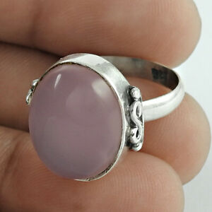 Oval Shape Rose Quartz Gemstone Ring Size 7 925 Sterling Silver Jewelry R9