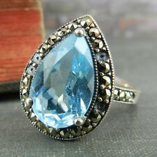 CNA Thailand Sterling Silver Marcasite & Blue Stone Ring - Size 8 *damage*