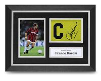 Franco Baresi Signed A4 Photo Framed Captains Armband Display AC Milan Autograph