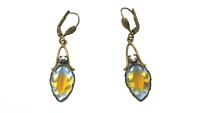 Antique Art Deco West Germany Ges. Gesch Bicolour Frosted Glass Leaf Earrings