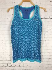 OAKLEY TANK TOP MEDIUM WOMENS ATHLETIC STRETCHY BLUE LIGHTWEIGHT BASE LAYER (C27